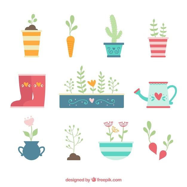 Elementi di giardinaggio carino Vettore gratuito