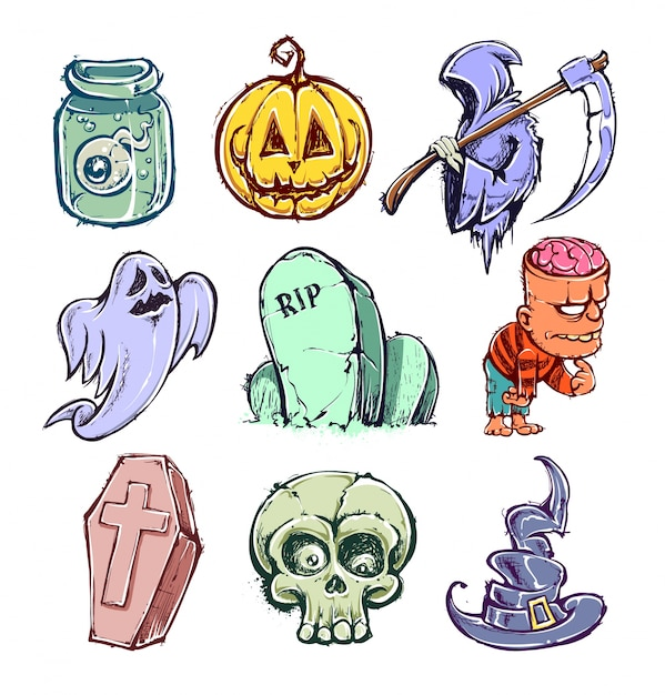 Elementi di halloween Vettore gratuito