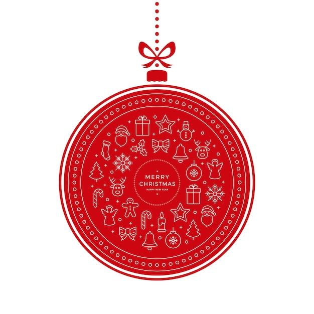 Elementi Di Icone Di Pallina Di Natale Sfondo Bianco Rosso