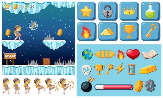 Elementi di illustrazione del gioco di una ragazza Vettore gratuito