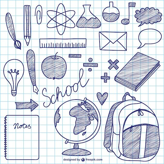 Elementi di inchiostro scuola vettore Vettore gratuito