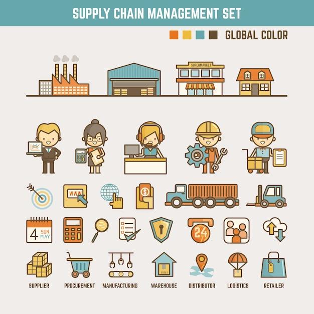 Elementi di infografica catena di approvvigionamento Vettore Premium