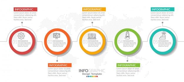 Elementi di infografica con icona e opzione. Vettore Premium