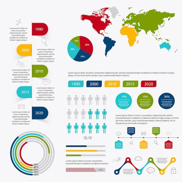 Elementi di infografica del mercato aziendale Vettore Premium