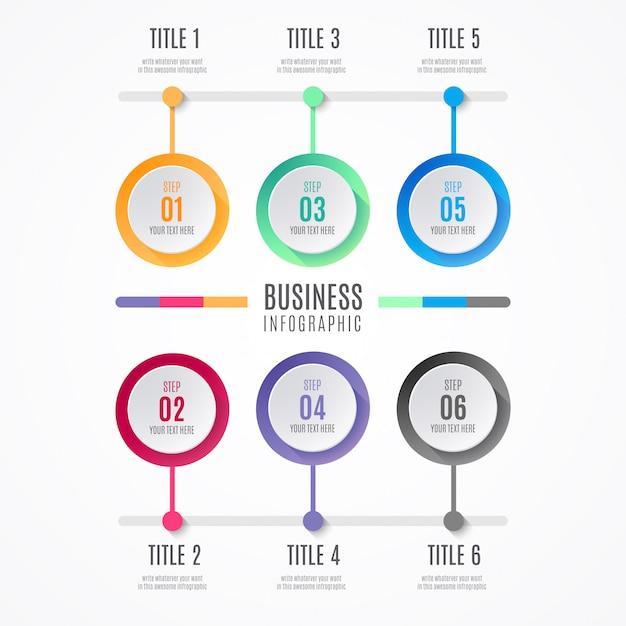 Elementi di infografica di affari colorati Vettore gratuito