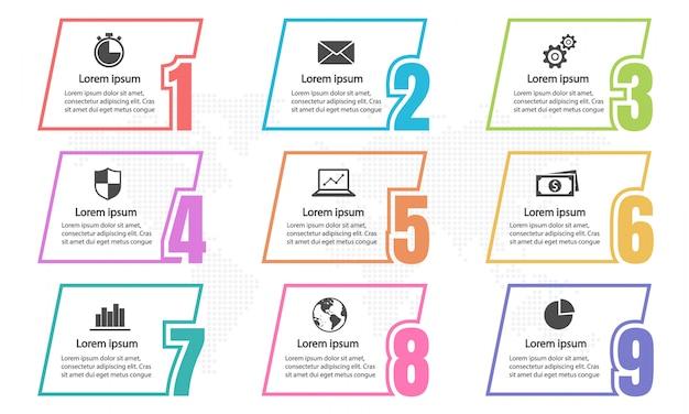 Elementi di infografica e numeri 9 opzioni. Vettore Premium