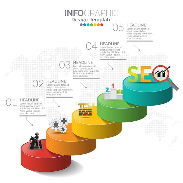 Elementi di infografica per contenuto, sequenza temporale, flusso di lavoro, grafico. Vettore Premium