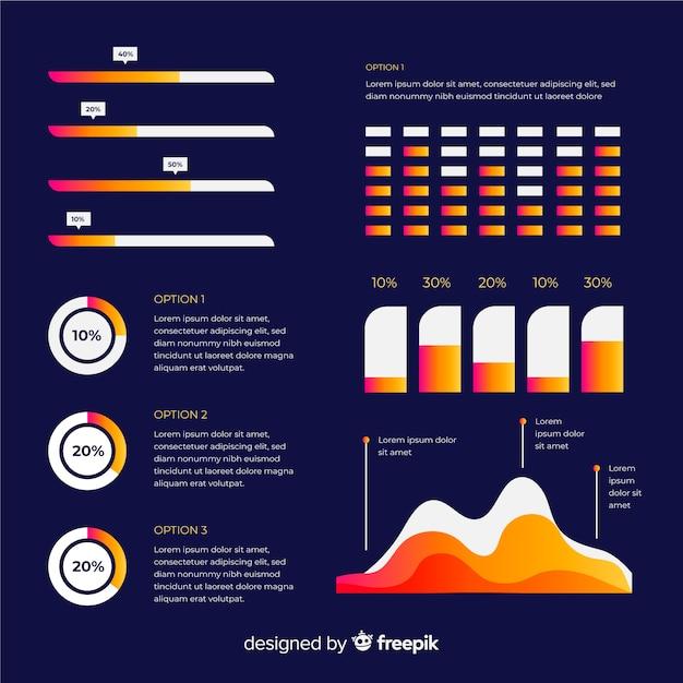 Elementi di infografica piatto con raccolta di statistiche Vettore gratuito