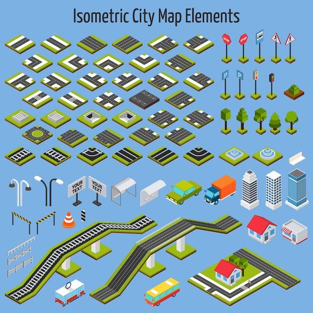 Elementi di mappa città isometrica Vettore gratuito