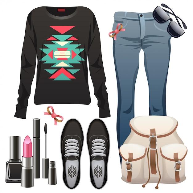 Elementi di moda femminile. Vettore Premium