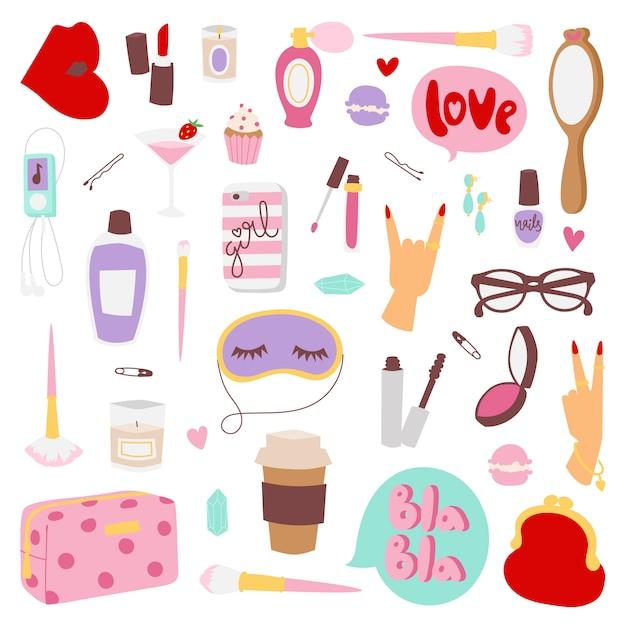 Elementi di moda per ragazze. Vettore Premium