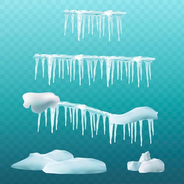 Elementi di neve Vettore Premium