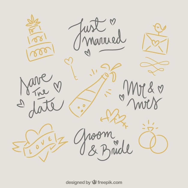 Elementi di nozze doodles Vettore gratuito