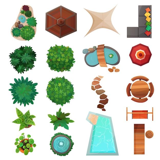 Elementi di paesaggio set di vista dall'alto Vettore gratuito