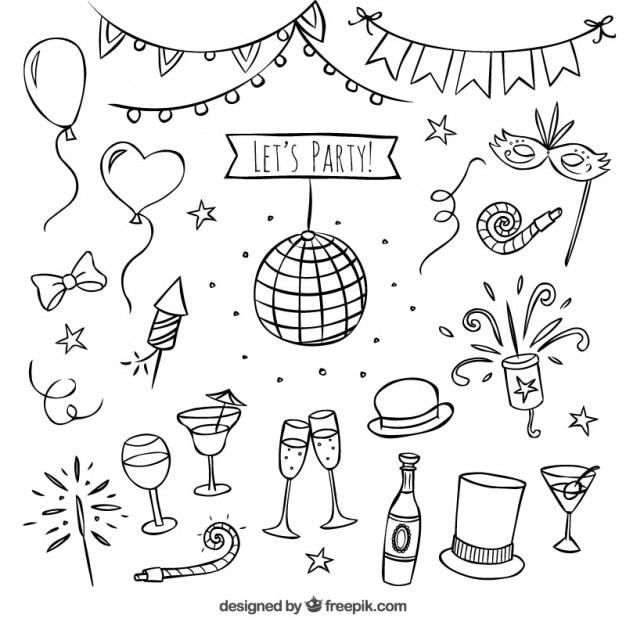 Elementi di partito disegnati a mano Vettore gratuito