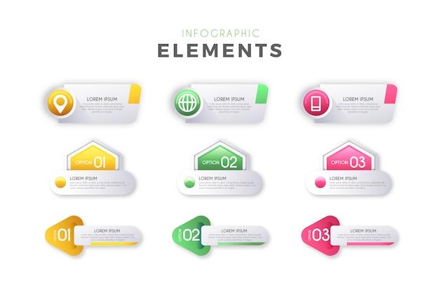Elementi di passaggi infografica Vettore gratuito