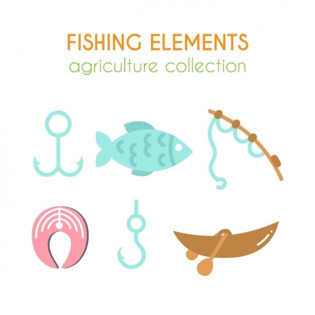 Elementi di pesca collezione Vettore gratuito