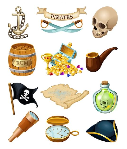 Elementi di pirati per giochi per computer. Vettore Premium