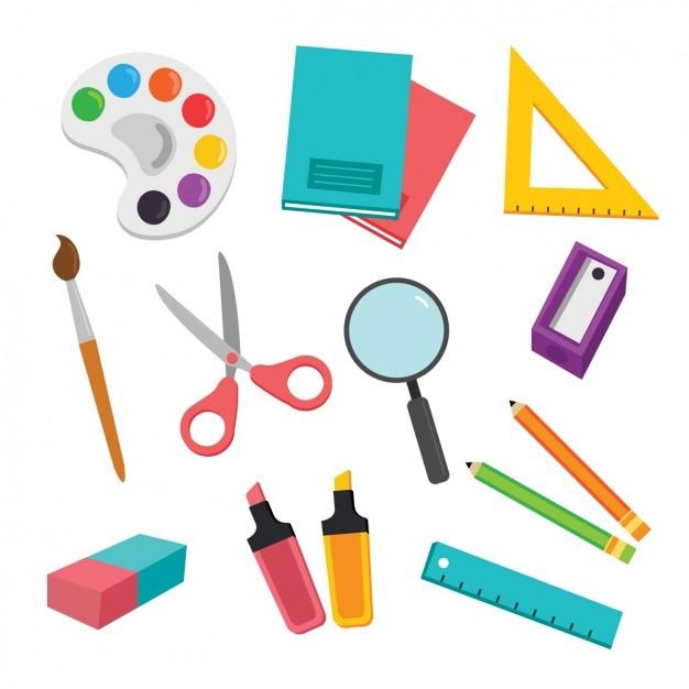 Elementi di scuola collezione Vettore gratuito
