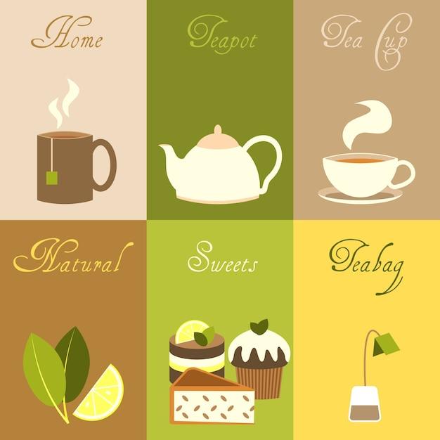 Elementi di tè collezione Vettore gratuito