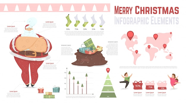 Elementi di vacanze di natale dell'insegna di infographic. Vettore Premium