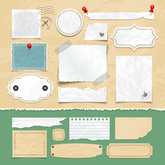 Elementi di vettore scrapbooking d'epoca. vecchi fogli di carta, cornici per foto ed etichette. illustrazione dell'album dell'annata della carta e dell'album Vettore Premium