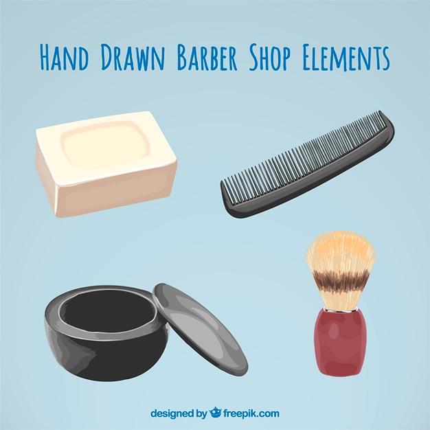 Elementi disegnati a mano barbiere realistici Vettore gratuito