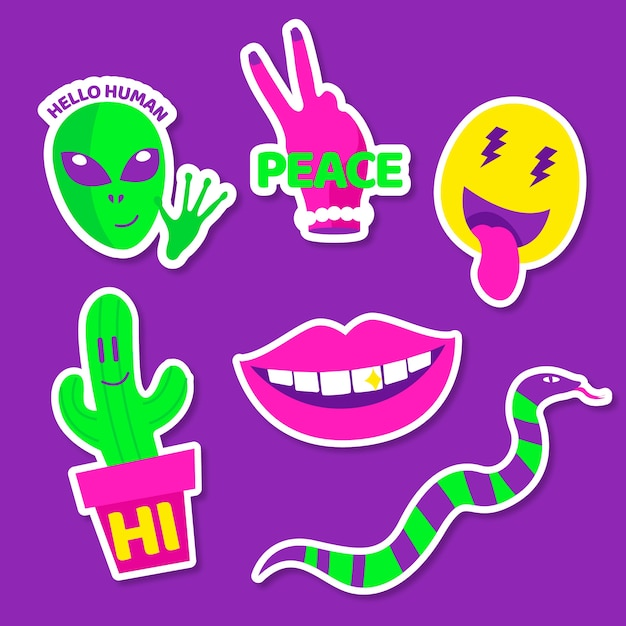 Elementi divertenti con adesivi facciali in colori acidi Vettore gratuito