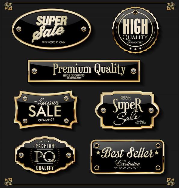 Elementi dorati premium di lusso Vettore Premium
