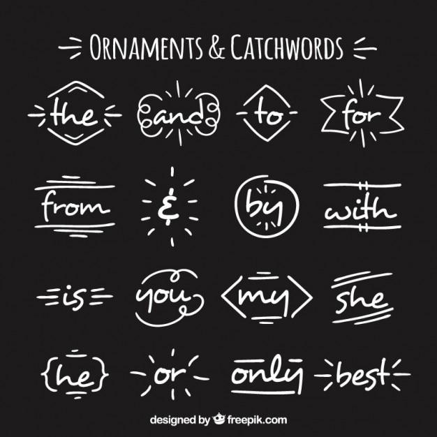 Elementi e parole d'ordine decorativi disegnati a mano Vettore gratuito