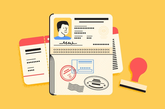 Elementi essenziali per il passaporto Vettore Premium