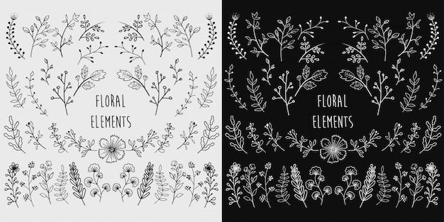 Elementi floreali disegnati a mano Vettore Premium