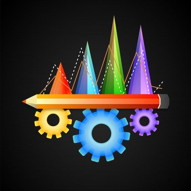 Elementi floreali lucidi inclusi grafici statistici, matita e ruote dentate per il concetto di business. Vettore gratuito