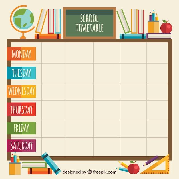 Elementi in aula con orario scolastico Vettore gratuito