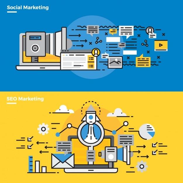 Elementi infographic circa marketing sociale Vettore gratuito