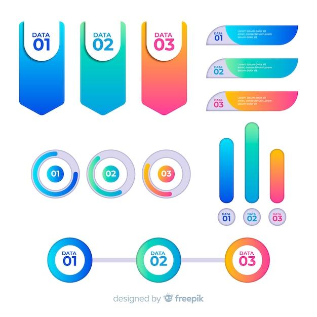 Elementi infographic colorati con effetto sfumato Vettore gratuito