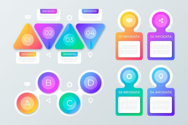 Elementi infographic colorati gradiente Vettore gratuito
