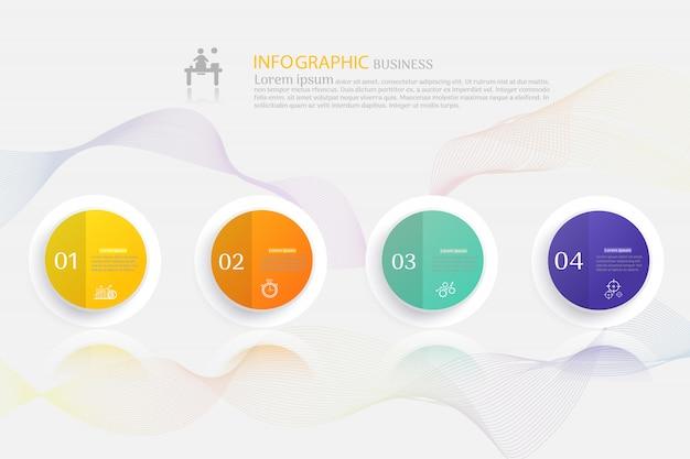 Elementi infographic del grafico di opzioni del modello 4 di affari Vettore Premium