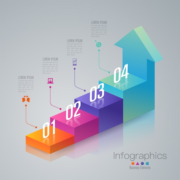 Elementi infographic di 4 passi business scala Vettore Premium