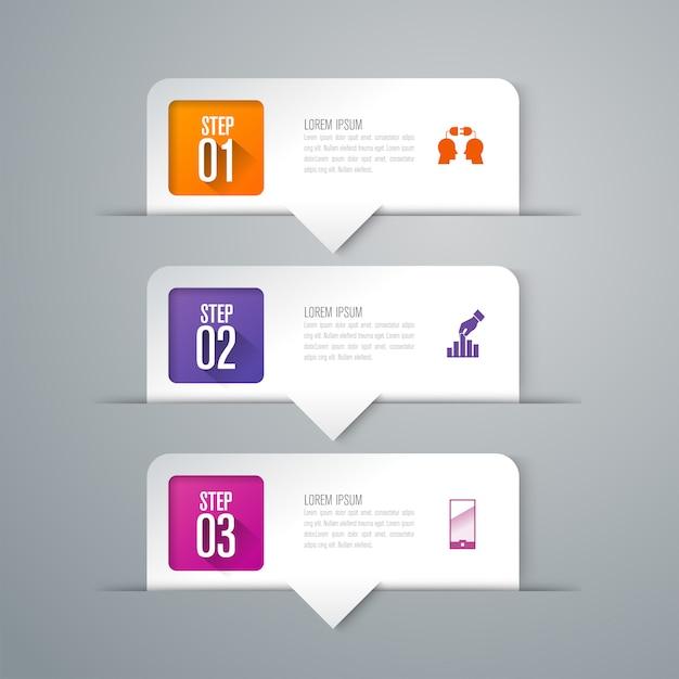 Elementi infographic di affari di 3 punti per la presentazione Vettore Premium