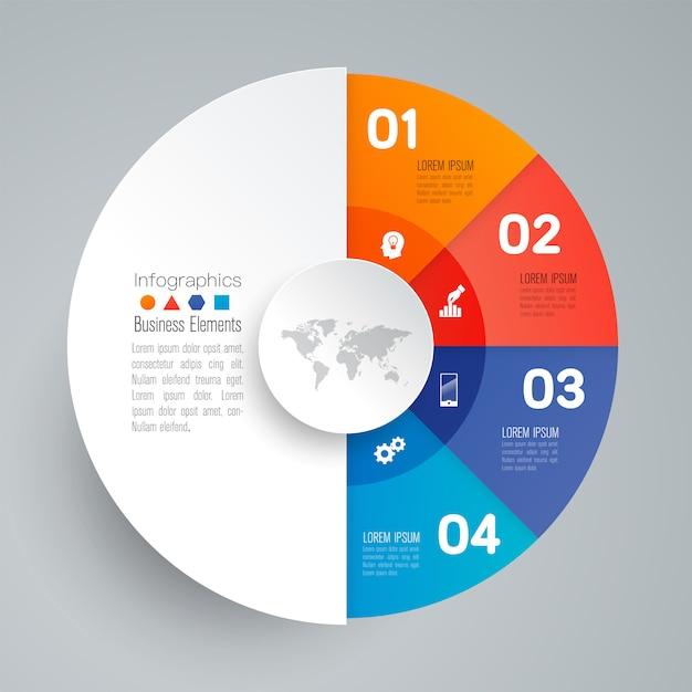 Elementi infographic di affari di 4 punti per la presentazione Vettore Premium