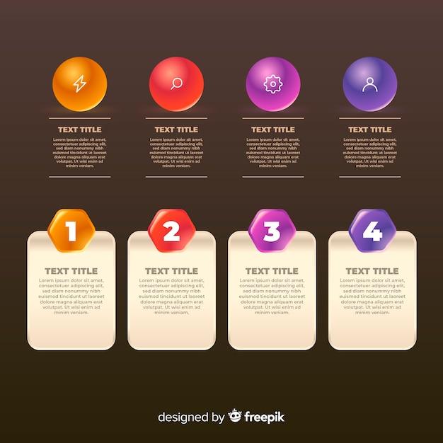 Elementi infographic lucidi realistici Vettore gratuito