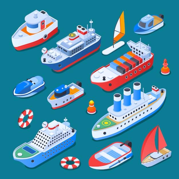 Elementi isometrici delle navi isolati Vettore gratuito