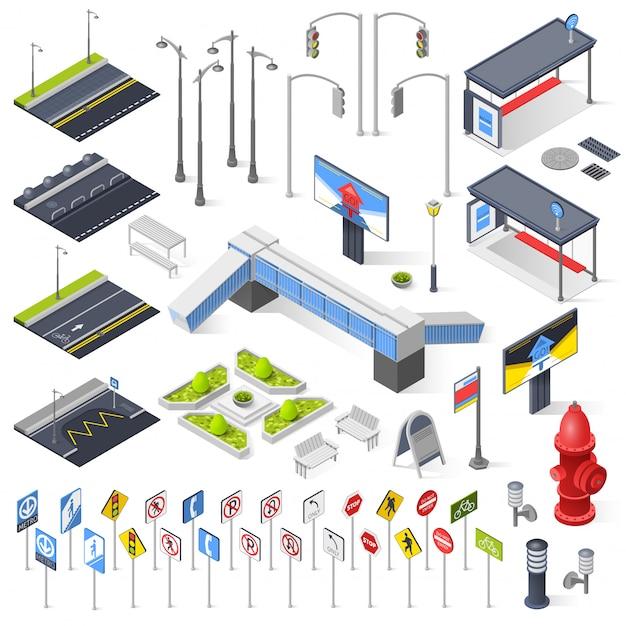 Elementi isometrici di city street constructor Vettore gratuito