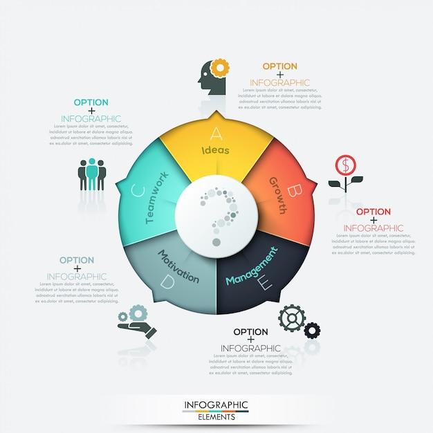 Elementi moderni di infographics di affari della freccia Vettore Premium