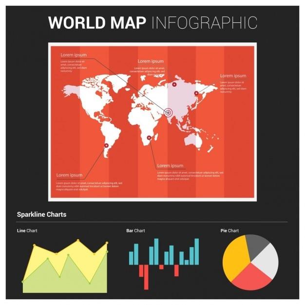 Elementi moderni di informazioni grafiche mappa del mondo e tipografia Vettore gratuito