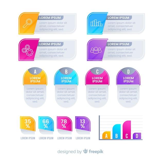 Elementi moderni infografica colorate Vettore gratuito