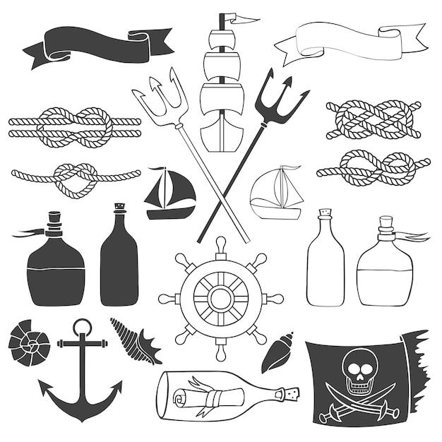 Elementi nautici e marini Vettore Premium