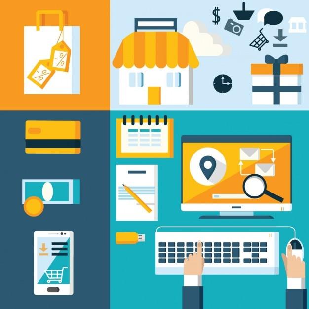 Elementi negozio web in design piatto Vettore gratuito