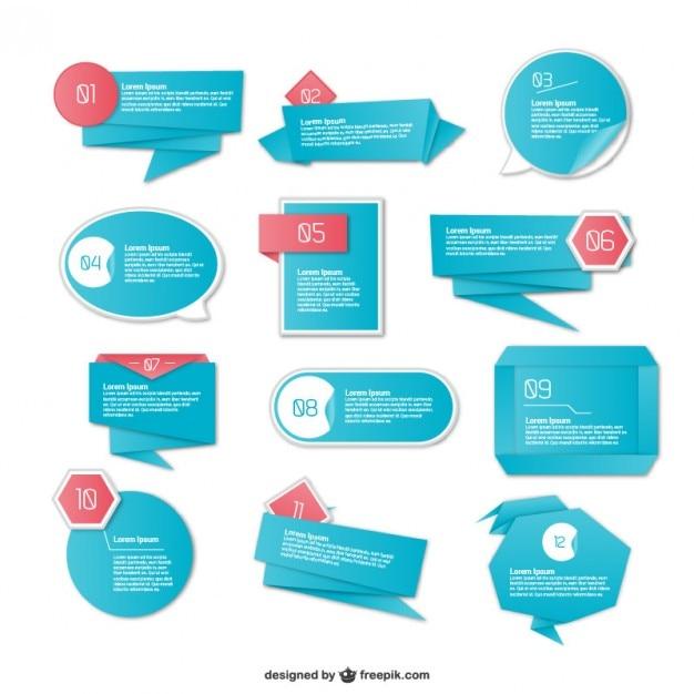 Elementi origami bue infografia Vettore gratuito